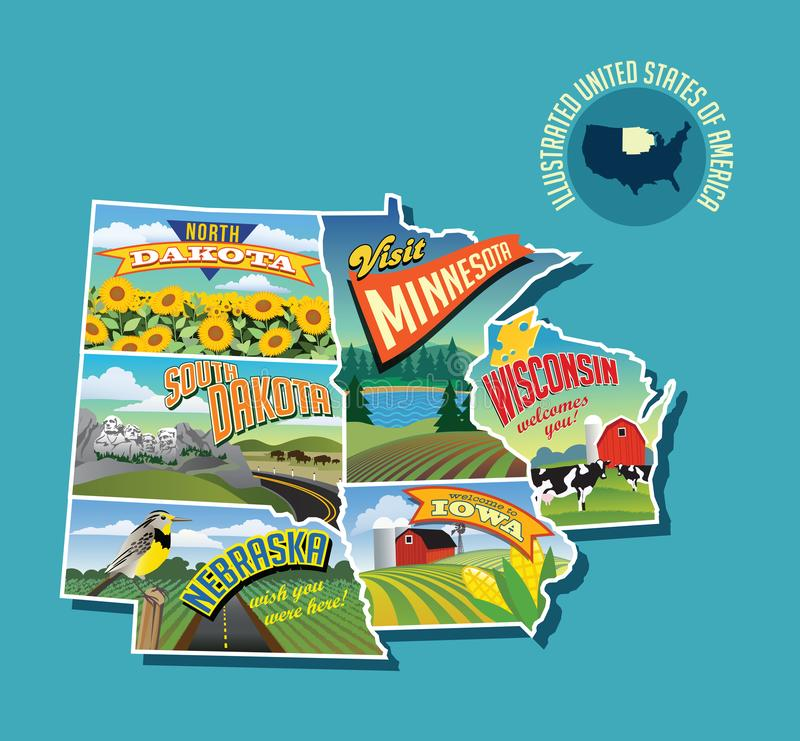 Carte imagée illustrée de Midwest Etats-Unis illustration stock