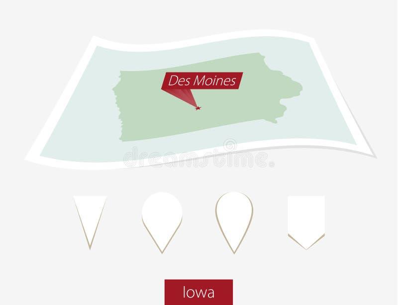 Carte incurvée de papier d'état de l'Iowa avec le capital Des Moines sur B gris illustration libre de droits