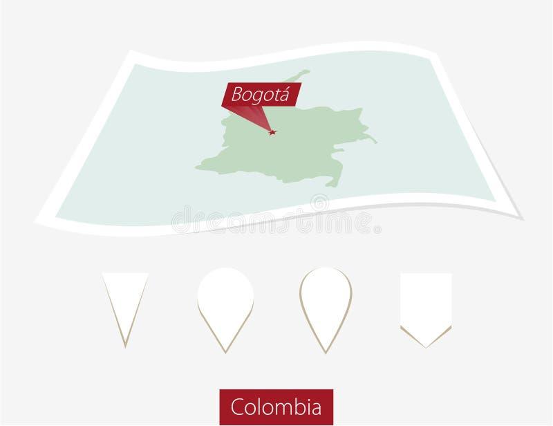 Carte incurvée de papier de la Colombie avec la capitale Bogota sur Gray Backgro illustration de vecteur