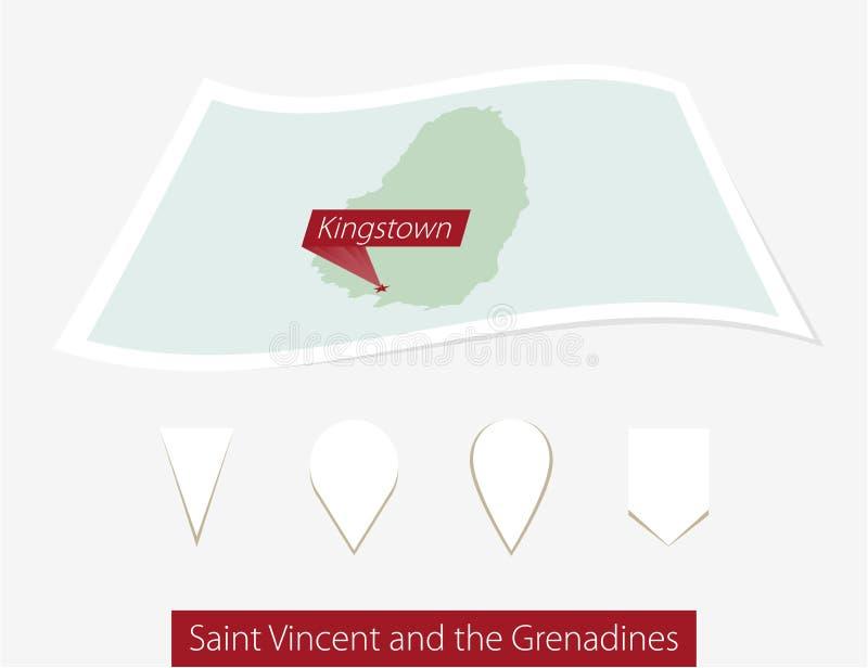 Carte incurvée de papier de Saint-Vincent-et-les-Grenadines avec la tête illustration stock
