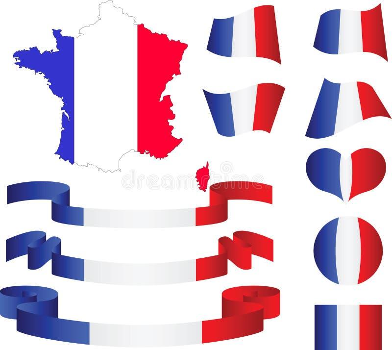 Carte, indicateur, bandes, coeur et bille de la France illustration de vecteur