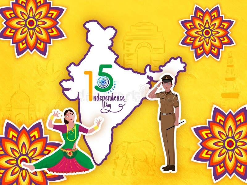 Carte indienne sur le fond jaune brillant décoré de l'étable d'autocollant illustration de vecteur