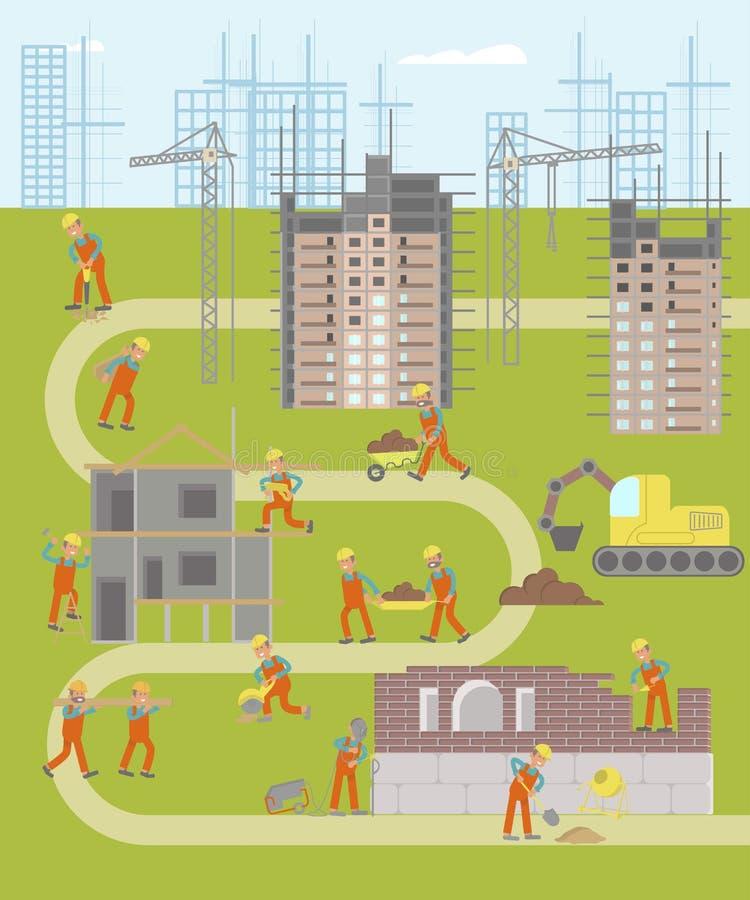 Carte infographic d'usine de construction illustration stock
