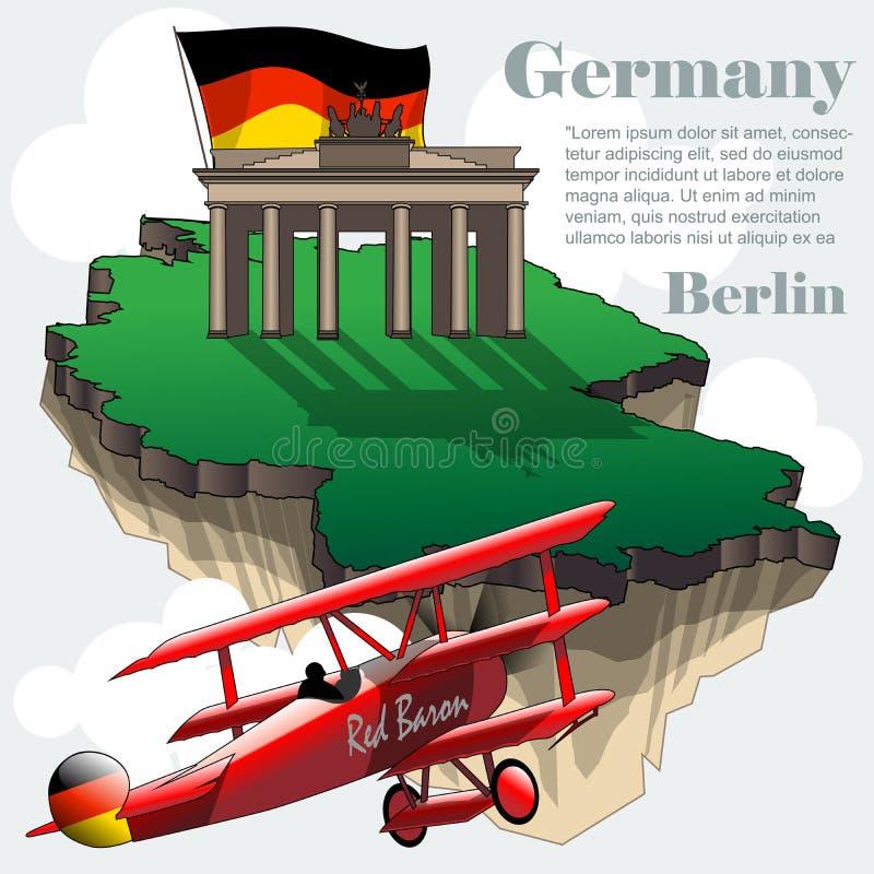 Carte infographic de pays de l'Allemagne dans 3d illustration libre de droits