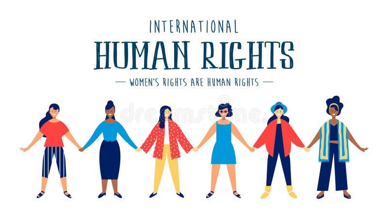 Carte internationale de droits de l'homme des femmes diverses illustration libre de droits