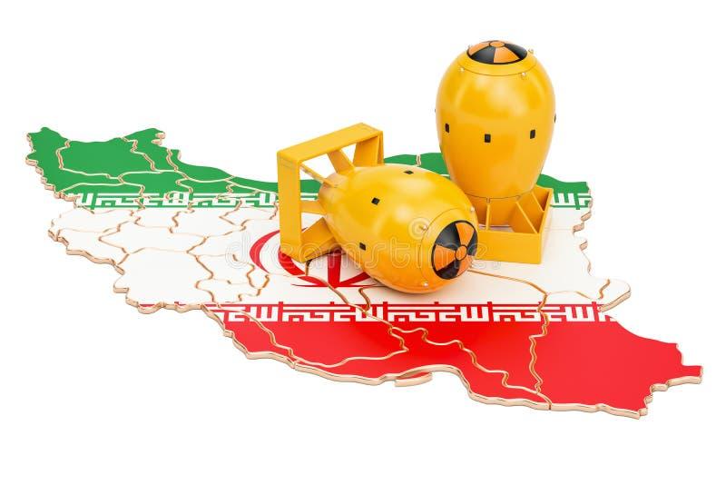 Carte iranienne avec le concept d'arme nucléaire, rendu 3D illustration de vecteur