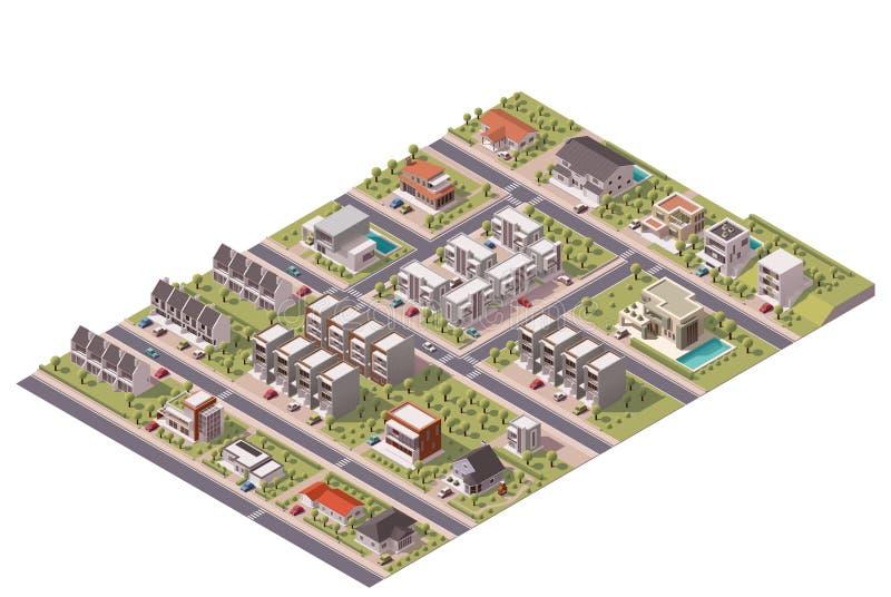 Carte isométrique de banlieue de vecteur illustration libre de droits