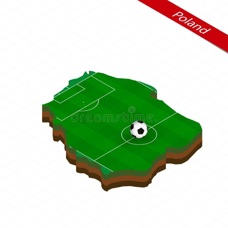 Carte isométrique de la Pologne avec le terrain de football Boule du football au centre du terrain de football illustration stock