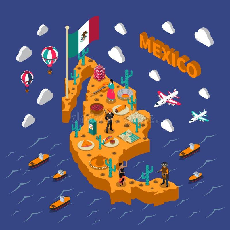 Carte isométrique de symboles touristiques mexicains d'attractions illustration stock