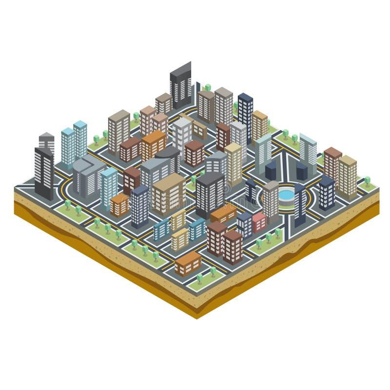 Carte isométrique de ville illustration stock