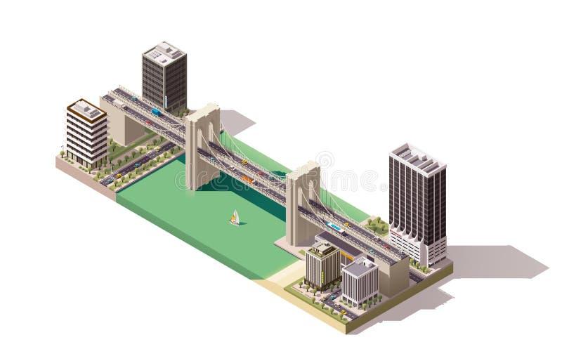 Carte isométrique de ville de vecteur illustration stock