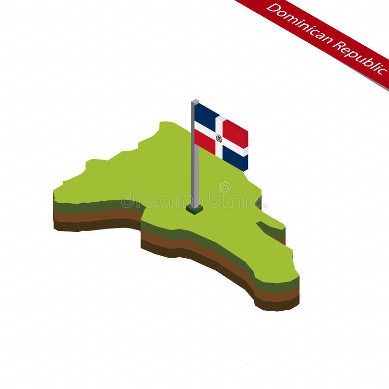 Carte isométrique et drapeau de la République Dominicaine  Illustration de vecteur illustration de vecteur