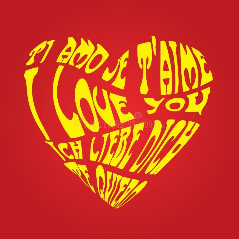 Carte jaune d'amour illustration stock