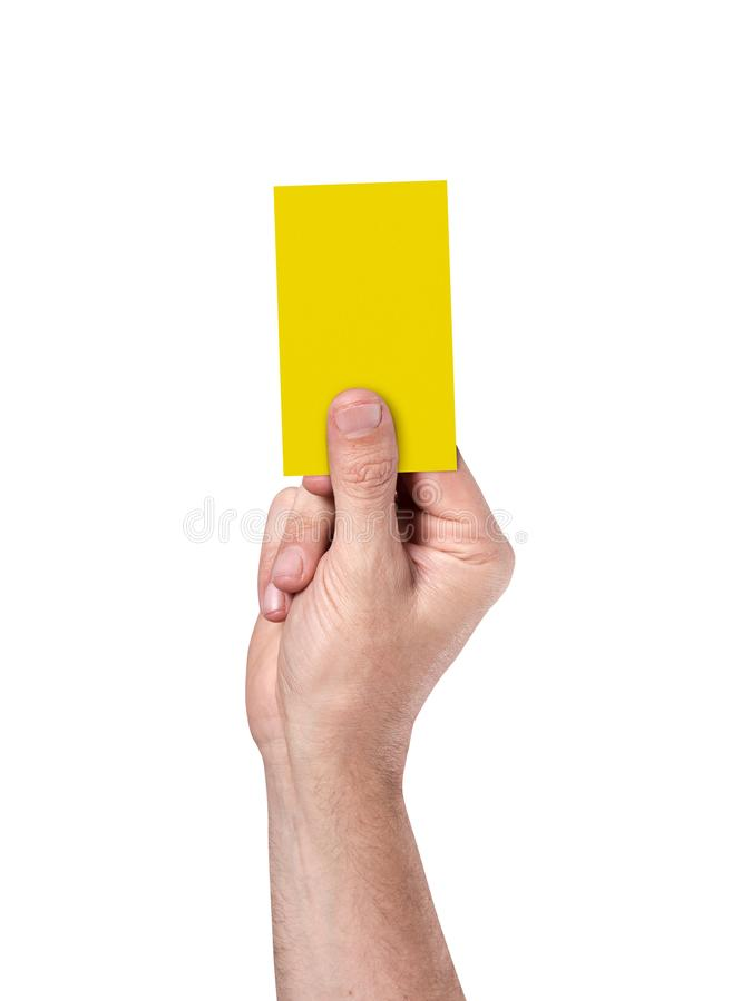 Carte jaune sur le fond de stade illustration libre de droits