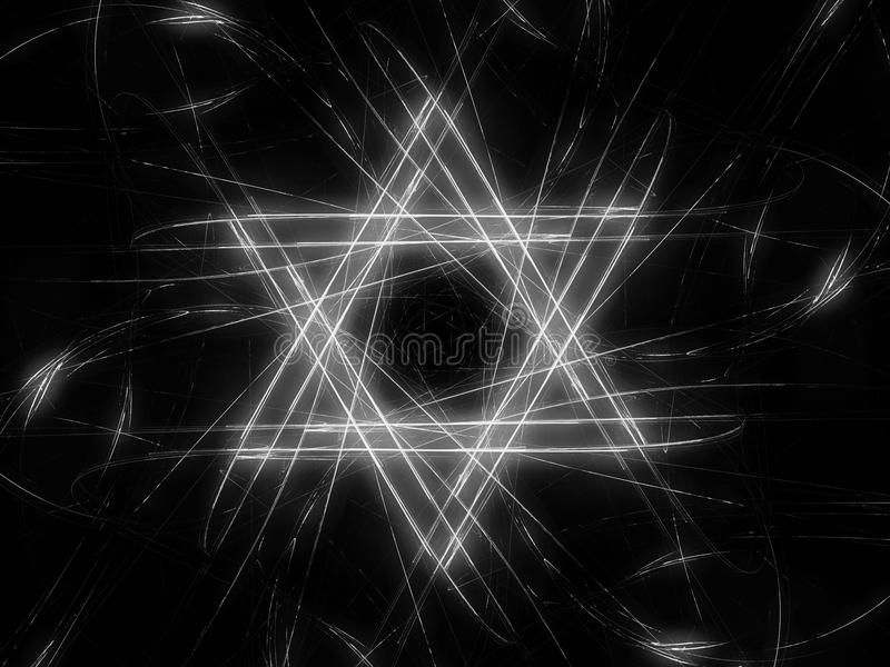 Carte juive d'intensité d'étoile de David noire et blanche illustration libre de droits