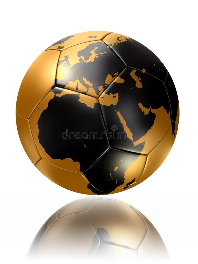 Carte l'Europe Afrique du monde de globe de ballon de football d'or illustration de vecteur