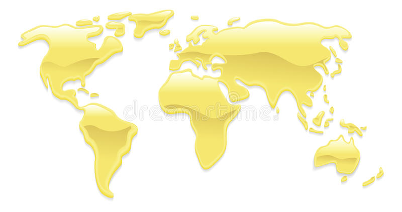 Carte liquide du monde d'or illustration libre de droits