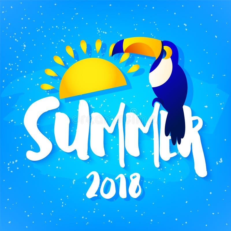 Carte lumineuse d'été avec le toucan, le soleil et le texte sur le fond bleu Conception plate Bannière tropicale de vecteur illustration de vecteur