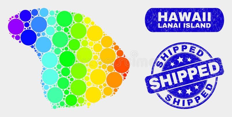 Carte lumineuse d'île de Lanai de mosaïque et filigrane embarqué rayé illustration libre de droits