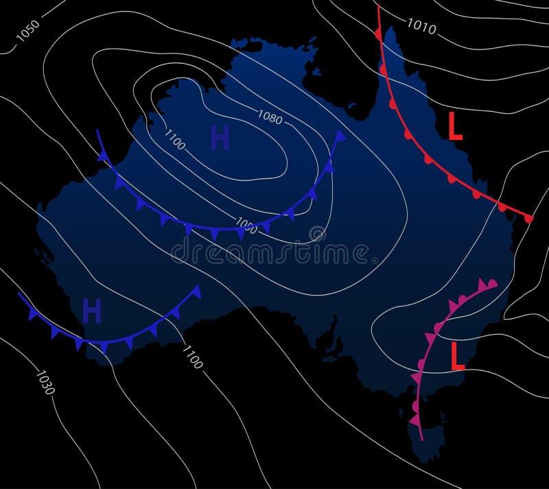 Carte météorologique de l'Australie Prévision météorologique sur un fond foncé Illustration Editable de vecteur d'un générique illustration de vecteur