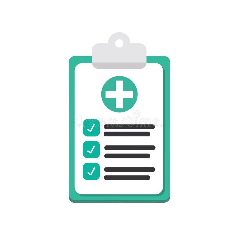 Carte mediche, assicurazione isolate su fondo Aggiusti i documenti, il lavoro di ufficio, piano Progettazione piana di vettore illustrazione di stock