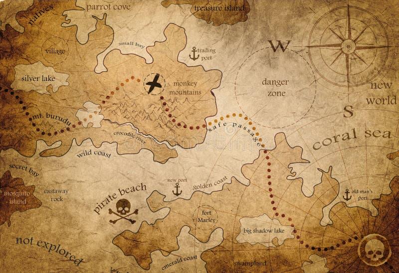 Carte menant pour pirater le trésor illustration libre de droits
