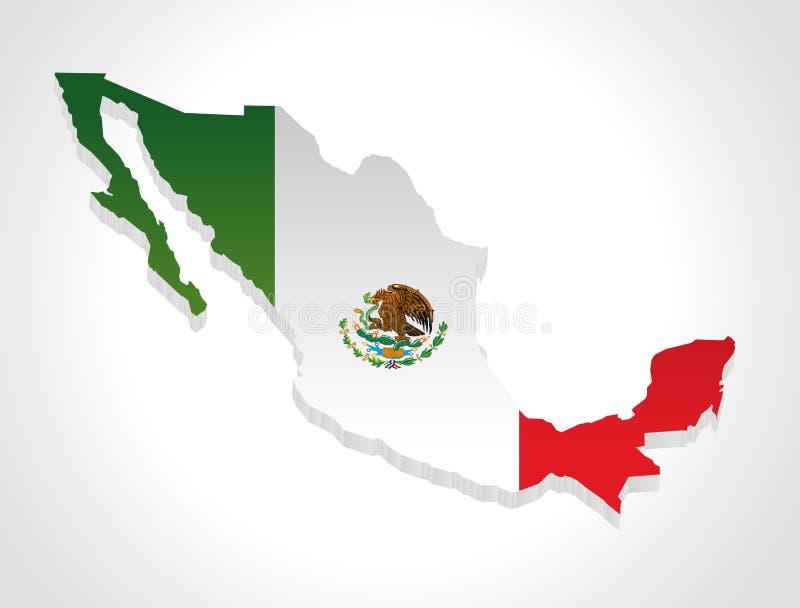 Carte Mexique 3d illustration stock