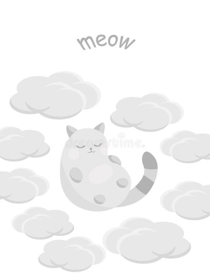 Carte mignonne avec le chat heureux photo libre de droits