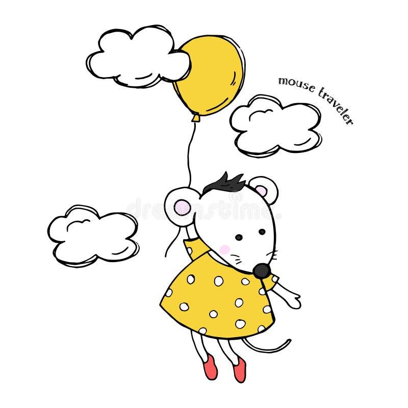 Carte mignonne avec une souris dans une robe jaune Vol de souris dans un ballon parmi les nuages Illustration colorée de vecteur  illustration libre de droits