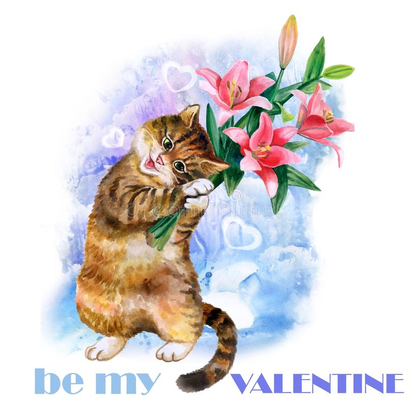 Carte mignonne d'aquarelle avec le chat et les fleurs d'isolement sur le fond bleu avec des coeurs Le jour de valentines, soit mo illustration stock