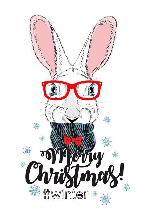 Carte mignonne de chrismas avec le jeune lapin illustration stock