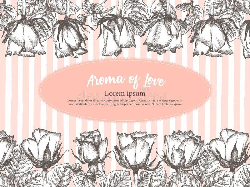 Carte mignonne de jour ou de label de valentines avec le croquis de fleur de Rose en gravant fond d'illustration de vecteur de cr illustration de vecteur