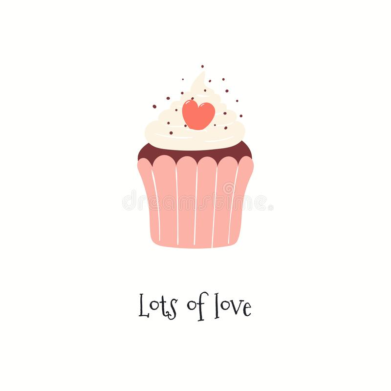 Carte mignonne de jour de valentines avec le petit gâteau illustration stock
