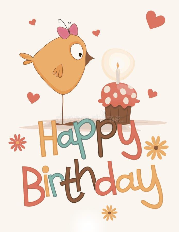 Carte mignonne de joyeux anniversaire illustration stock