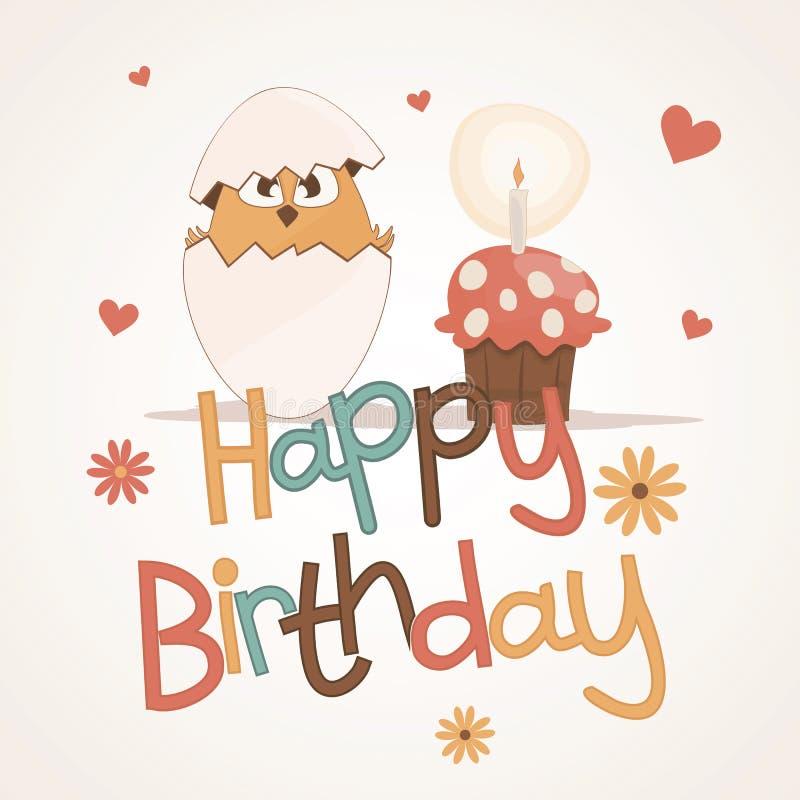Carte mignonne de joyeux anniversaire illustration de vecteur