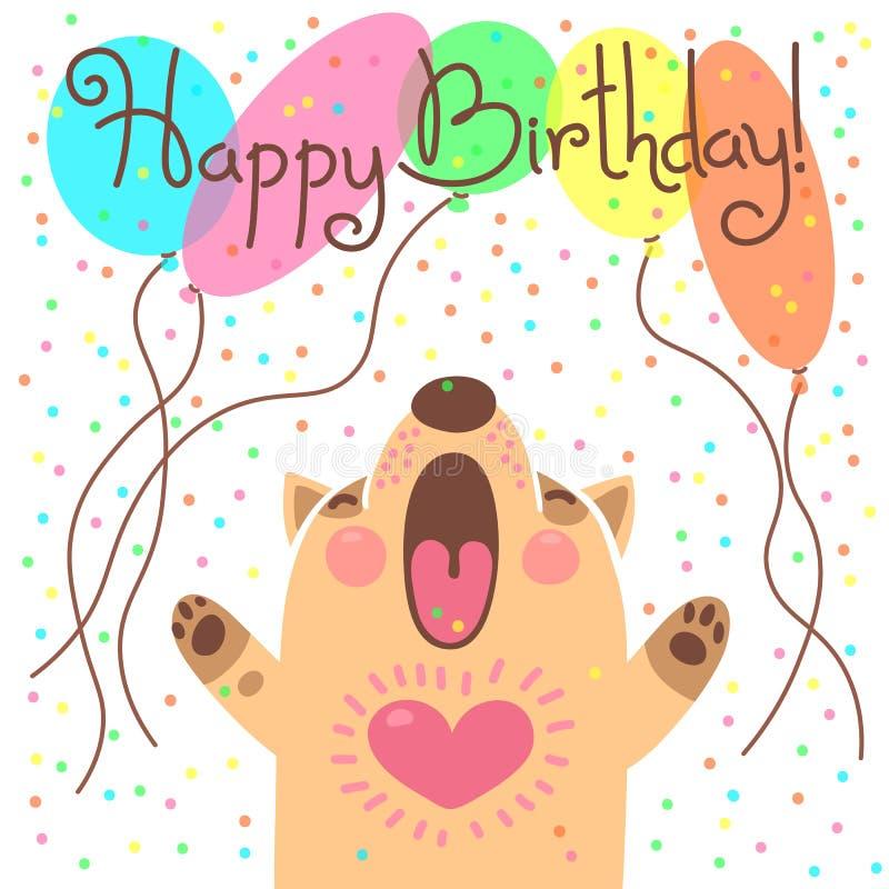 Carte mignonne de joyeux anniversaire avec le chiot drôle illustration stock