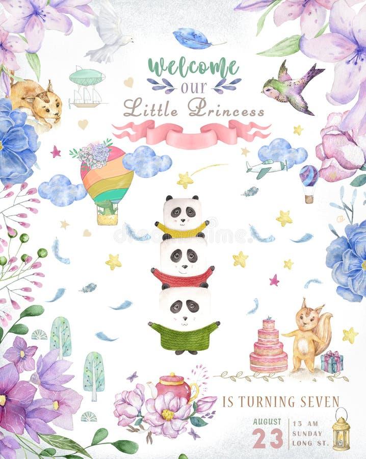Carte mignonne de joyeux anniversaire avec le panda de bande dessin?e Fleurs de rose de boho de clipart (images graphiques) et de illustration stock