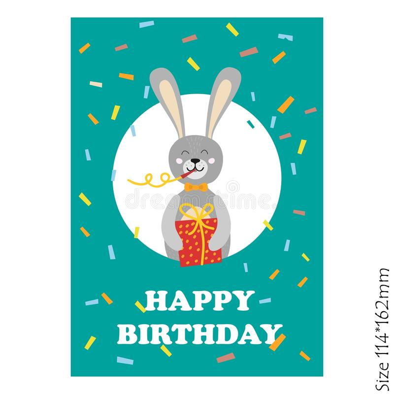 Carte mignonne de joyeux anniversaire avec les animaux drôles illustration de vecteur