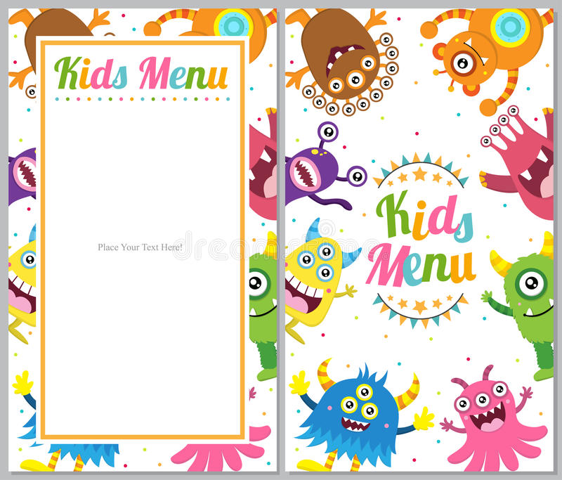 Carte mignonne de menu de monstre illustration stock