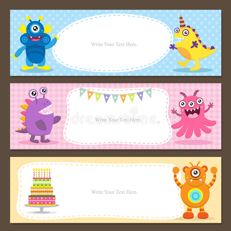 Carte mignonne de monstre illustration stock