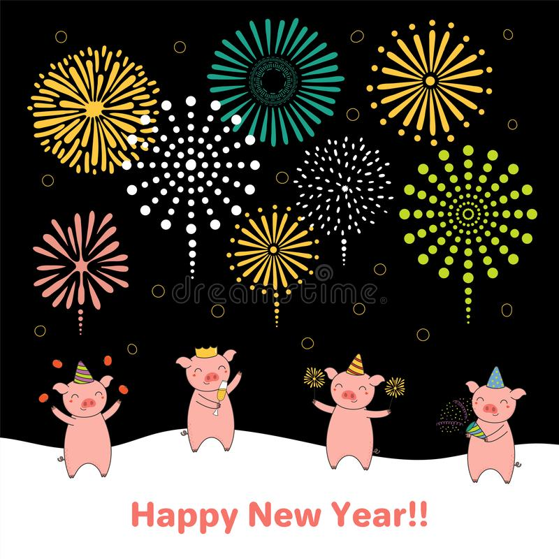 Carte mignonne de nouvelle année, bannière illustration de vecteur