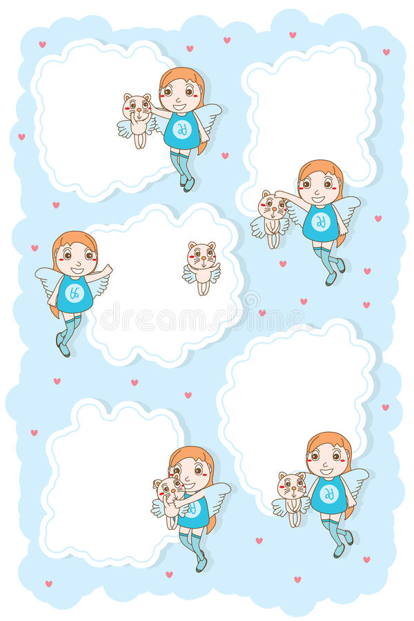 Carte mignonne de nuage de chat d'enfant d'angle illustration stock
