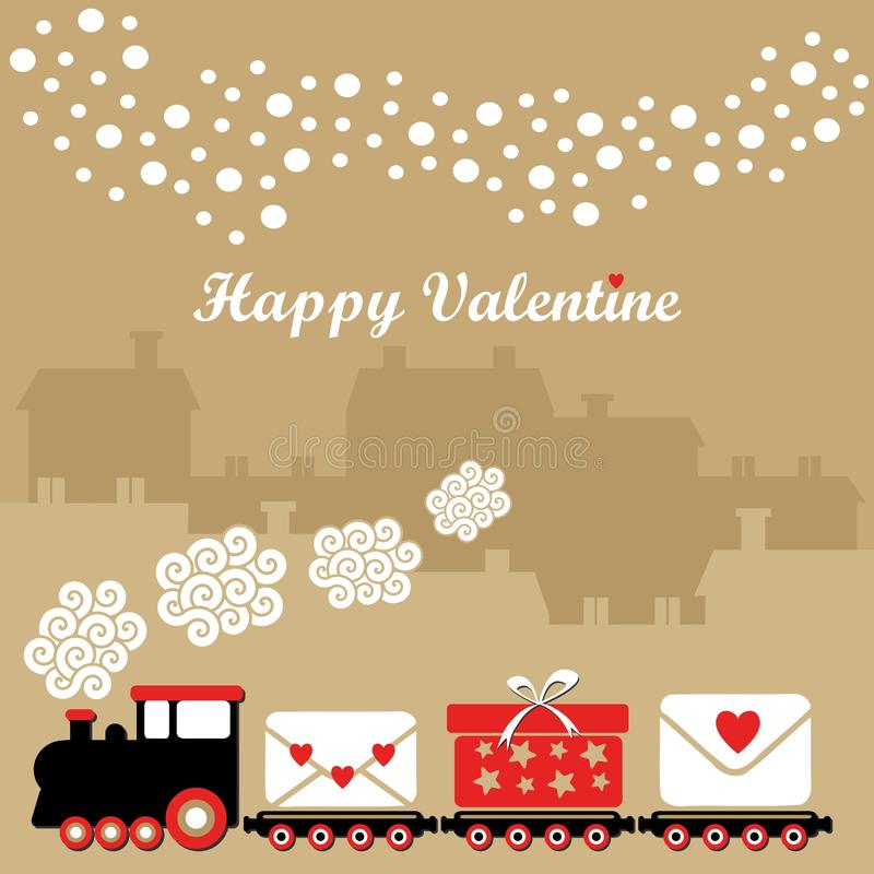 Carte mignonne de valentine avec le train, lettres avec des coeurs, cadeau, maisons d'hiver, flocons de neige en baisse, fond d'il illustration de vecteur