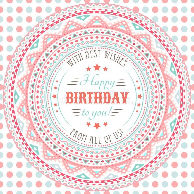 Carte mignonne drôle de joyeux anniversaire Lettres de typographie illustration libre de droits