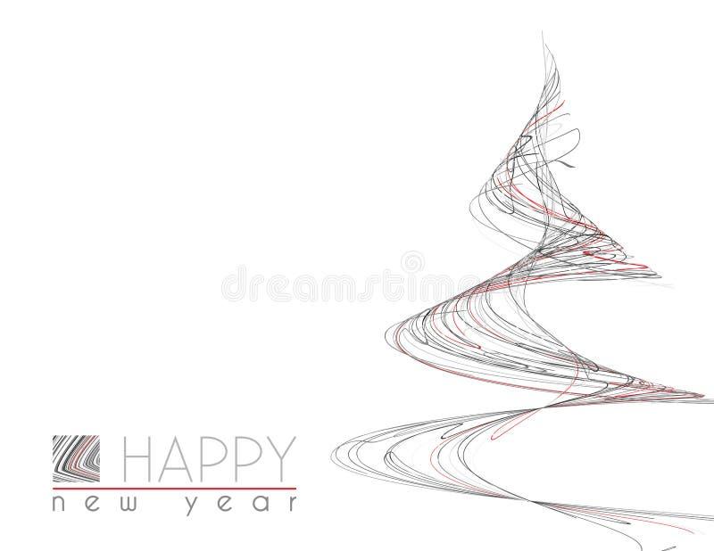 Carte minimale de bonne année avec l'arbre de Noël peu commun illustration libre de droits