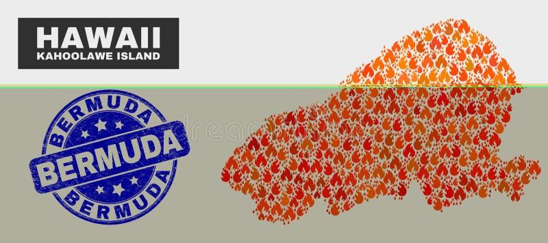 Carte mise le feu d'île de Kahoolawe de mosaïque et joint rayé de timbre des Bermudes illustration stock