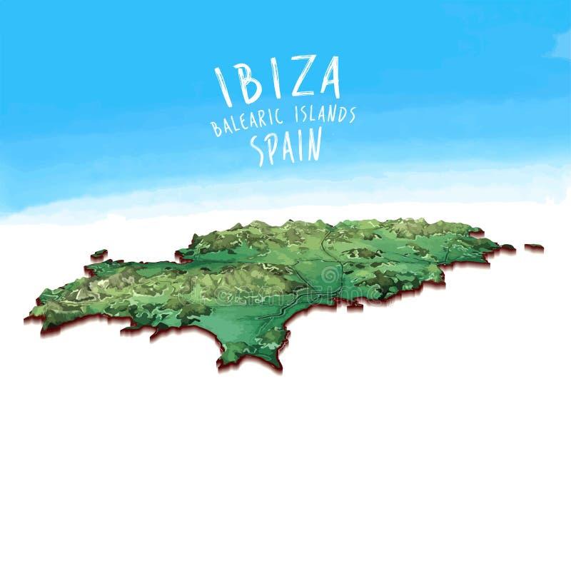 Carte moderne d'île d'Ibiza, Espagne illustration de vecteur