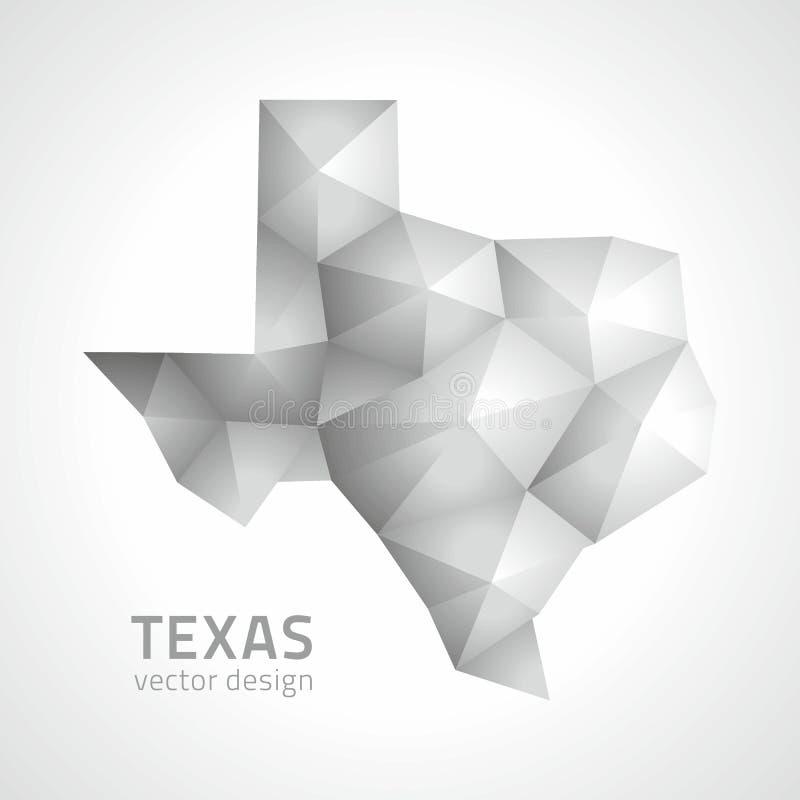 Carte moderne de la mosaïque 3d du Texas de vecteur polygonal gris de triangle illustration de vecteur