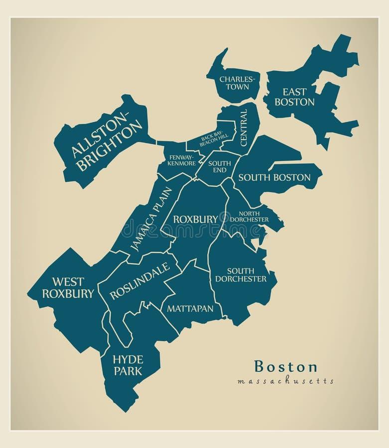 Carte moderne de ville - ville de Boston le Massachusetts des Etats-Unis avec Boro illustration de vecteur
