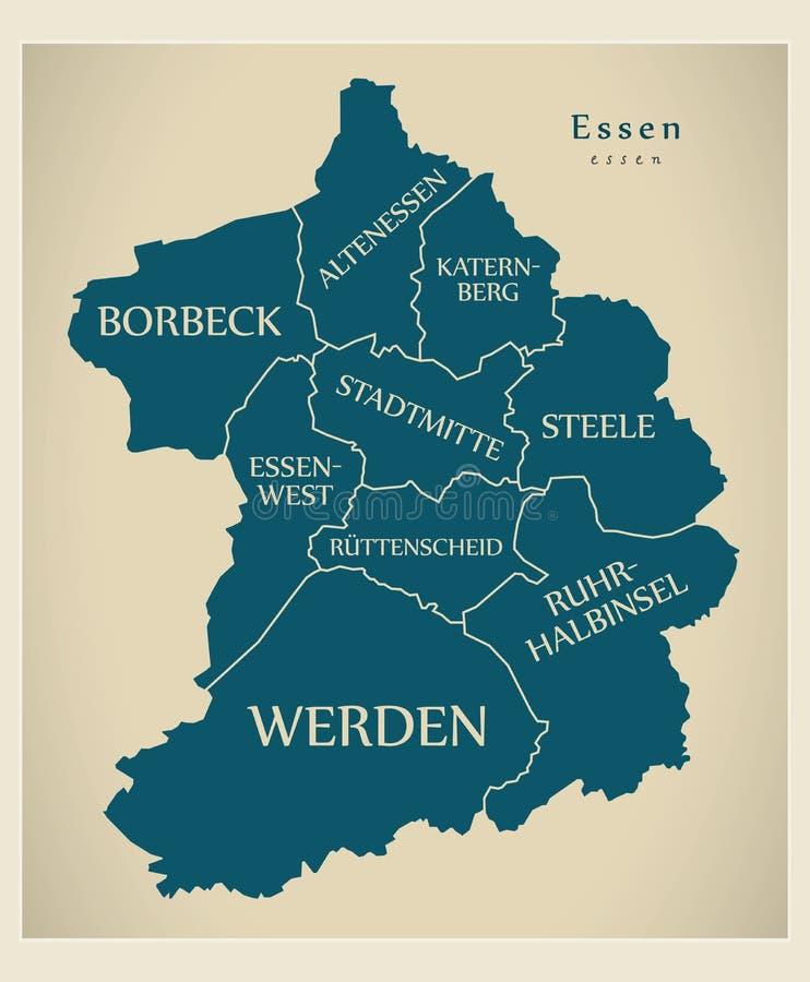 Carte moderne de ville - ville d'Essen de l'Allemagne avec des villes et des titres illustration libre de droits